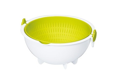 Набор миска и дуршлаг маленький зеленого цвета 2 л Spin Wheel Colander Small, KOKUBO, 1 шт.