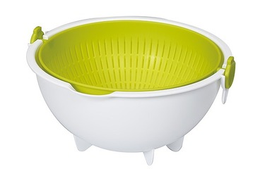 Набор миска и дуршлаг большой зеленого цвета 3,4 л Spin Wheel Colander Large, KOKUBO, 1 шт.